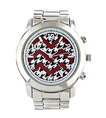 Red and Houndstooth Chevron Face Silver Boyfriend Watch #6839ZZ-SILVER