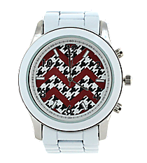 Red and Houndstooth Chevron Face White Boyfriend Watch #6839ZZ-WHITE