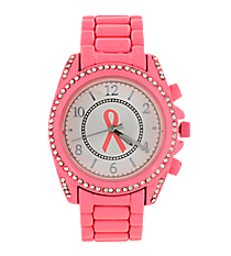 Bubblegum Pink Ribbon Boyfriend Bracelet Watch with Crystal Surround #7803BC-BUBBLEPINK