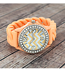 Peach and White Chevron Braided Jelly Watch with Crystal Surround #7827-PEACH