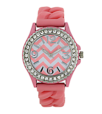 Bubble Gum Pink and White Chevron Braided Jelly Watch with Crystal Surround #7827-BBLPNK