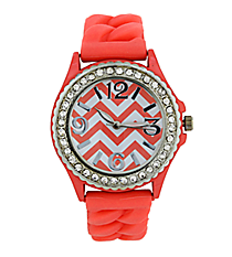 Coral and White Chevron Braided Jelly Watch with Crystal Surround #7827-CORAL
