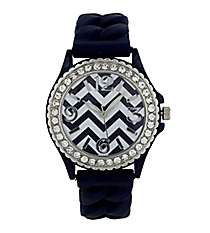 Navy Blue and White Chevron Braided Jelly Watch with Crystal Surround #7827-NAVY