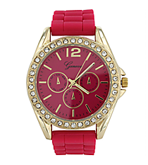 Hot Pink Jelly Watch with Crystal Surround #7885-HPINK