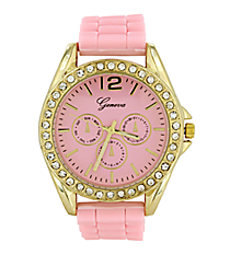 Light Pink Jelly Watch with Crystal Surround #7885-LTPINK