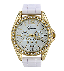 White Jelly Watch with Crystal Surround #7885-WHITE