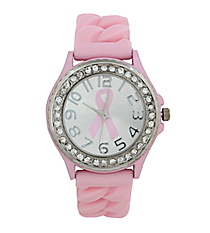 Pink Ribbon Braided Jelly Watch with Crystal Surround #7892BC-BABYPINK