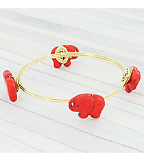 Red Stone Elephant Goldtone Wired Bangle #WB0700-GLRED