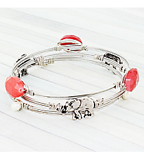 3 Piece Red Bead and Elephant Burnished Silvertone Wired Bangle Set #WB0748-SBRED