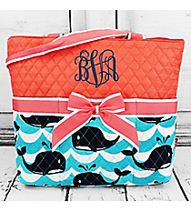 Oh Whale! Quilted Diaper Bag with Coral Trim #WCO2121-CORAL