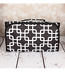 Black and White Overlapping Squares Small Roll Up Jewelry Bag #CB50-1333