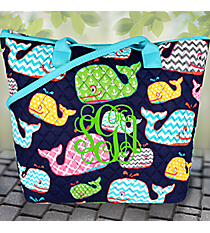 Whimsical Whale Quilted Shoulder Bag with Aqua Trim #WHA1515-AQUA