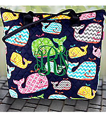 Whimsical Whale Quilted Shoulder Bag with Navy Trim #WHA1515-NAVY