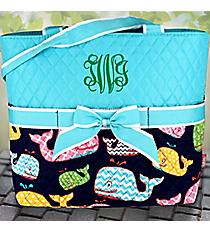 Aqua Whimsical Whale Quilted Diaper Bag #WHA2121-AQUA