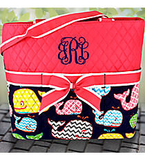 Hot Pink Whimsical Whale Quilted Diaper Bag #WHA2121-H/PINK