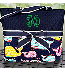 Navy Whimsical Whale Quilted Diaper Bag #WHA2121-NAVY