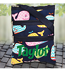 Whimsical Whale Crossbody Bag with Navy Trim #WHA231-NAVY