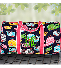"""21"""" Whimsical Whale Quilted Duffle Bag with Hot Pink Trim #WHA2626-H/PINK"""