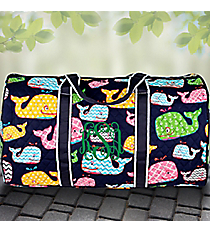 """21"""" Whimsical Whale Quilted Duffle Bag with Navy Trim #WHA2626-NAVY"""