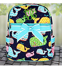 Whimsical Whale Quilted Large Backpack with Aqua Trim #WHA2828-AQUA