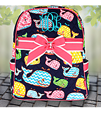 Whimsical Whale Quilted Large Backpack with Hot Pink Trim #WHA2828-H/PINK