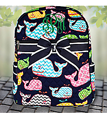 Whimsical Whale Quilted Large Backpack with Navy Trim #WHA2828-NAVY