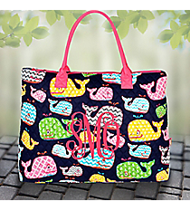 Whimsical Whale Quilted Large Shoulder Tote with Hot Pink Trim #WHA3907-H/PINK