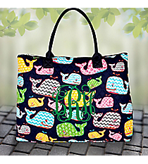 Whimsical Whale Quilted Large Shoulder Tote with Navy Trim #WHA3907-NAVY