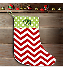 "17"" Long Red Chevron with Green Polka Dot Trim Stocking #WHST-A-SVPD-BUG/GREEN"