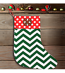 "17"" Long Green Chevron with Red Polka Dot Trim Stocking #WHST-A-SVPD-GREEN/RED"