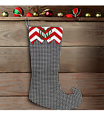 "20"" Long Houndstooth with Red Chevron Trim Stocking #WHST-HSV-H/RED"
