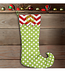 "20"" Long Green Polka Dot with Red Chevron Trim Stocking #WHST-PDSV-GREEN/RED"