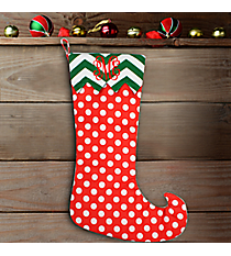 "20"" Long Red Polka Dot with Green Chevron Trim Stocking #WHST-PDSV-RED/GREEN"