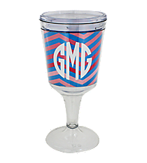 Blue and Pink Chevron Double Wall Wine Goblet #Chevron-BL/PK