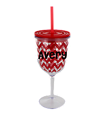 Red Chevron 13 oz. Double Wall Wine Glass with Straw #F133990