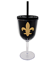 Fleur De Lis 13 oz. Double Wall Wine Glass with Straw #F137217