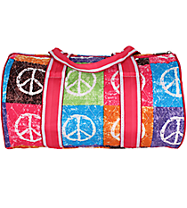 "SALE! 14"" Peace Out Quilted Duffle Bag with Hot Pink Trim #WPQ8080-HPINK"