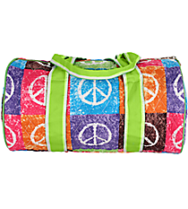 "SALE! 14"" Peace Out Quilted Duffle Bag with Lime Trim #WPQ8080-LIME"