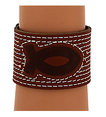 Fish Emblem Leather Wriststrap #WRL015