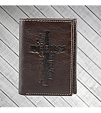 Brown Cross Genuine Leather Tri-Fold Wallet #WT019