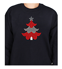 "Festive ""Houndstooth Tree"" Heavy-weight Crew Sweatshirt 8"" x 6.75"" Design XM11 *Choose Your Shirt Color"
