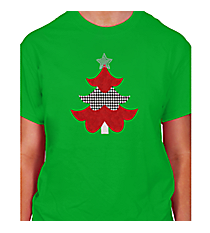 "Festive ""Houndstooth Tree"" Short Sleeve Relaxed Fit T-Shirt 8"" x 6.75"" Design XM11 *Choose Your Shirt Color"