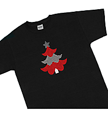 "Festive ""Houndstooth Tree"" Youth Short Sleeve Relaxed Fit T-Shirt 9.5"" x 5"" Design XM11 *Choose Your Shirt Color"
