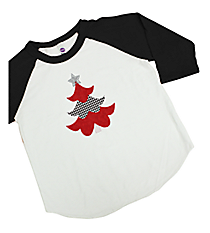 "Festive ""Houndstooth Tree"" Kids 3/4 Sleeve Raglan Tee 8"" x 6.75"" Design XM11 *Choose Your Shirt Color"