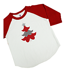 "Festive ""Houndstooth Tree"" Youth 3/4 Sleeve Raglan Tee 8"" x 6.75"" Design XM11 *Choose Your Shirt Color"