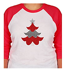 "Festive ""Houndstooth Tree"" 3/4 Sleeve Raglan Tee 8"" x 6.75"" Design XM11 *Choose Your Shirt Color"