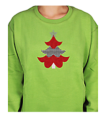 "Festive ""Houndstooth Tree"" Ladies Relaxed Fit Boxy Crew Sweatshirt 8"" x 6.75"" Design XM11 *Choose Your Shirt Color"