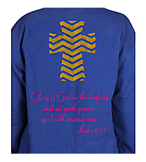 Luke 2:14 Chevron Cross Heavy-weight Crew Sweatshirt Design XM13 *Choose Your Colors
