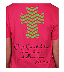 Luke 2:14 Chevron Cross Short Sleeve Relaxed Fit T-Shirt Design XM13 *Choose Your Colors