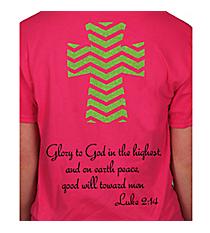 Luke 2:14 Chevron Cross Short Sleeve Relaxed Fit T-Shirt Design XM13 *Choose Your Colors